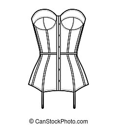 Torsolette basque bustier lingerie technical fashion illustration with molded cup, back laced, attached garters. Flat brassiere template front, white color style. Women men unisex underwear CAD mockup