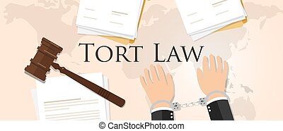 tort law concept of justice hammer gavel judgment process legislation paper document