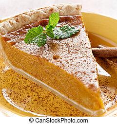 torta abóbora, com, hortelã, garnish.