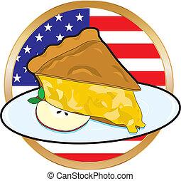 torta, bandeira americana, maçã