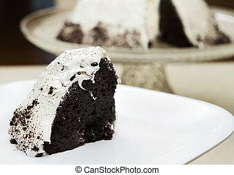 torta, bianco, fetta, smerigliatura, cioccolato