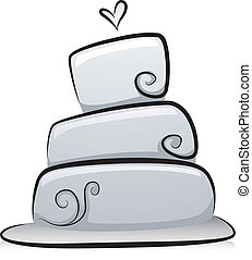 torta, bianco, nero, matrimonio
