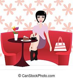 torta, bolt, nő