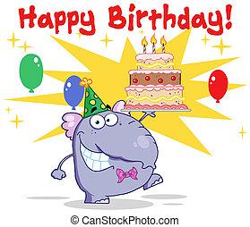 torta, camminare, compleanno, elefante