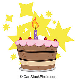 torta, candela, compleanno, uno