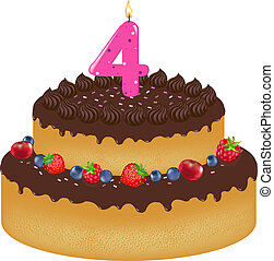 torta, candela, compleanno