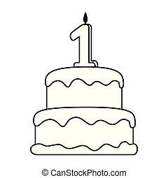 torta, candela, numero, delizioso, uno