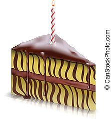 torta, candela, pezzo