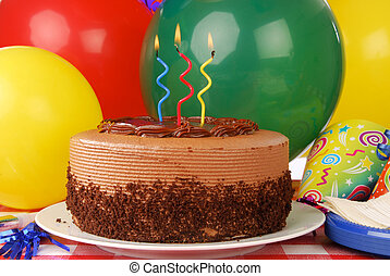 torta, candele, compleanno, tre
