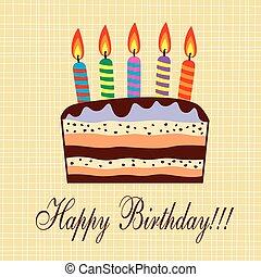torta, candele, vettore, compleanno