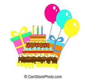torta, celebratory, születésnap, ajándék., vektor
