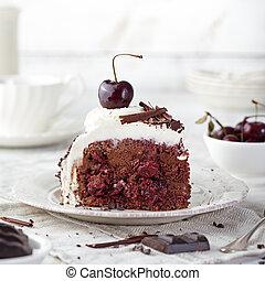 torta, cereja, chocolate, escuro, schwarzwald, cerejas, ...
