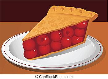torta cereja, vetorial, ilustração