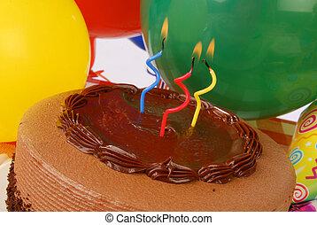 torta, chiudere, compleanno, su