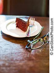 torta, cioccolato, occhiali