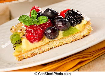 torta, com, frutas