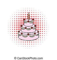 torta, comics, compleanno, icona, candela, three-tiered