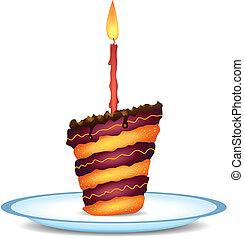 torta, compleanno, capriccio, cioccolato
