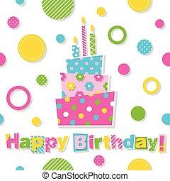 torta, compleanno, cartolina auguri, felice
