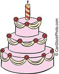 torta, compleanno, cartone animato, three-tiered, icona