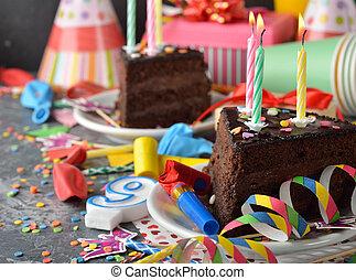 torta, compleanno, cioccolato