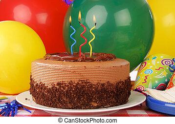 torta compleanno, con, tre, candele