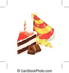 torta compleanno, e, cappello