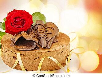 torta, compleanno, festivo, cioccolato