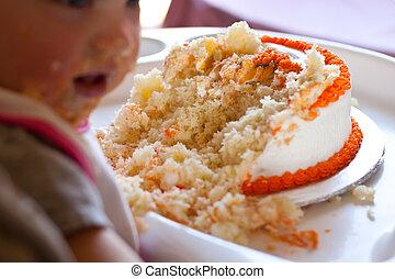torta, compleanno, mangiato, bambino