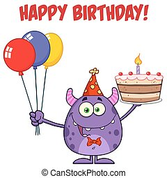 torta, compleanno, mostro, presa a terra