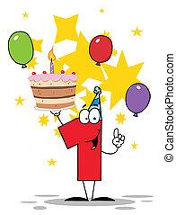 torta, compleanno, numero