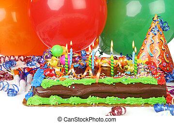 torta, compleanno, palloni