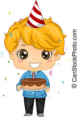 torta, compleanno, presa a terra, capretto