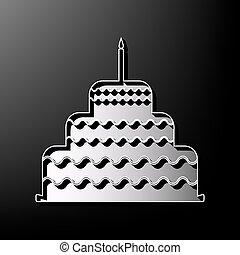 torta, con, candela, segno., vector., grigio, 3d, stampato, icona, su, nero, fondo.