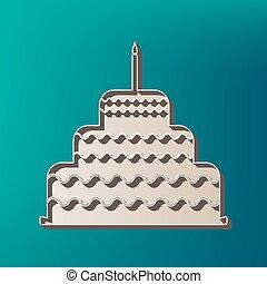 torta, con, candela, segno., vector., icona, stampato, a, 3d, su, mare, colorare, fondo.