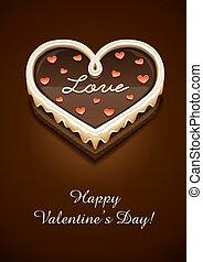 torta, cuore, cioccolato, amore, dolce