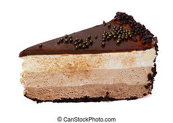torta de chocolate, aislado, blanco, pedazo
