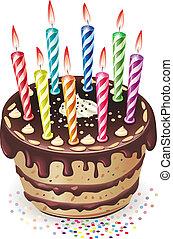 torta de chocolate, con, velas