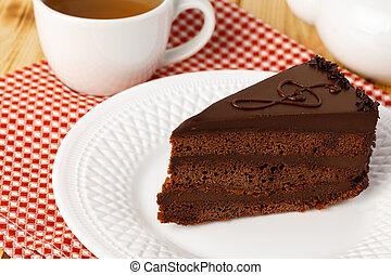 torta de chocolate, tabla, placa, blanco, pedazo