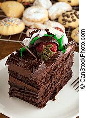 torta de chocolate, y, galletas
