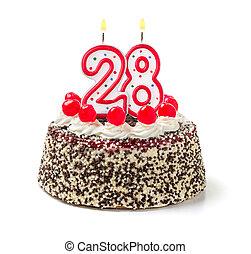 torta de cumpleaños, con, abrasador, vela, número, 28