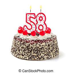 torta de cumpleaños, con, abrasador, vela, número, 58