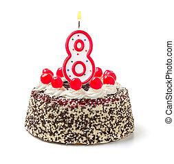 torta de cumpleaños, con, abrasador, vela, número 8