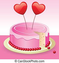 torta de cumpleaños, con, corazón