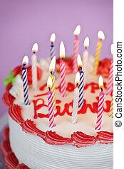 torta de cumpleaños, con, encendió velas