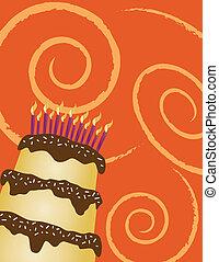 torta de cumpleaños, naranja