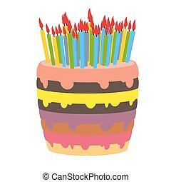 torta de cumpleaños, y, lotes, de, candles., quemadura,...