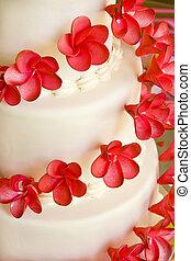torta de la boda, con, flores rojas
