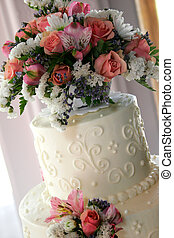torta de la boda, primer plano
