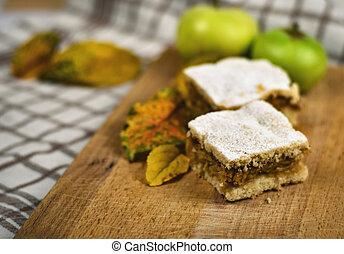 torta de manzana, con, otoño, plano de fondo